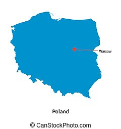Detailed vector map of Poland and capital city Warsaw
