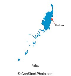 Detailed vector map of Palau and capital city Melekeok