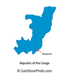 Vector map Republic of the Congo and capital city Brazzaville
