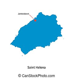 Detailed vector map of Saint Helena and capital city...
