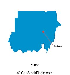 Detailed vector map of Sudan and capital city Khartoum