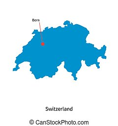 Detailed vector map of Switzerland and capital city Bern