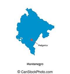 Detailed vector map of Montenegro and capital city Podgorica