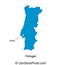 Detailed vector map of Portugal and capital city Lisbon