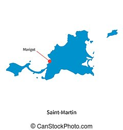 Detailed vector map of Saint-Martin and capital city Marigot
