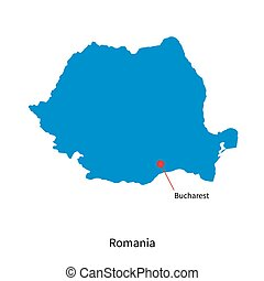 Detailed vector map of Romania and capital city Bucharest