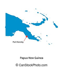 Map of Papua New Guinea and capital city Port Moresby -...