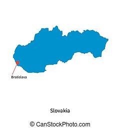 Detailed vector map of Slovakia and capital city Bratislava