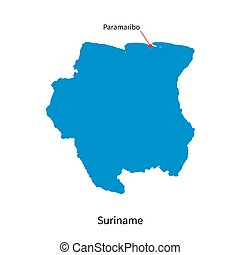 Detailed vector map of Suriname and capital city Paramaribo