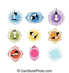 Seven main chakras, sketch foy your design Vector...