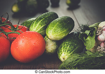fresh vegetables on brown wooden table - fresh vegetables on...