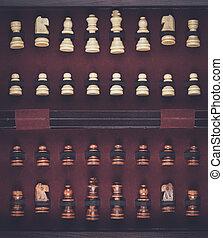 Piezas de ajedrez, caja