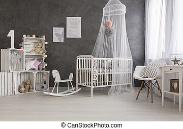 Sleeping like a princess - Shot of a cozy baby room full of...