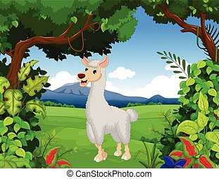 lama cartoon with forest background - vector illustration of...