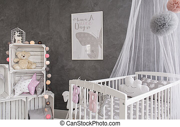 Like in a fairytale - Shot of a cozy baby room with a canopy...