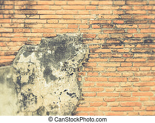 Old red grunge brick wall Vintage filter effect used