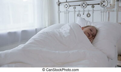 Little girl sleeping in her bed - Young girl sleep in bed...
