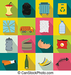 Waste and garbage icons set, flat style - Waste and garbage...