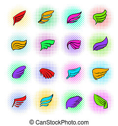 Wings icons set, pop-art style - Wings icons set in pop-art...