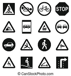 Road Sign Set icons, simple style - Road Sign Set icons in...