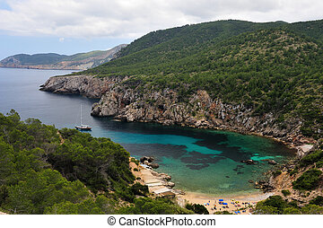 Cala d?en Serra in Ibiza, a small beach in the north of the...