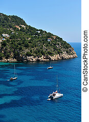 Cala Vadella Ibiza Spain - The beautiful coast of Ibiza,...