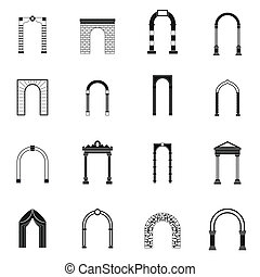 Arch set icons, simple style - Arch set icons in simple...