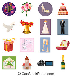 Wedding icons set, cartoon style - Wedding icons set in...