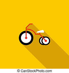 Kid bicycle icon, flat style - Kid bicycle icon in flat...