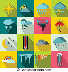 Weather set icons, flat style - Weather set icons in flat...