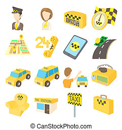 Taxi icons set, cartoon style - Taxi icons set in cartoon...