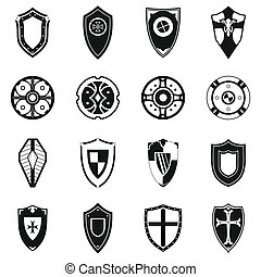 Shields set icons in simple style for any design