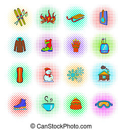 Winter icons set, pop-art style - Winter icons set in...
