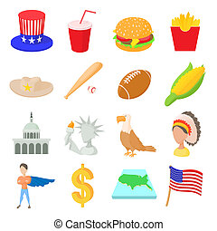 Usa icons set, cartoon style - Usa icons set in cartoon...