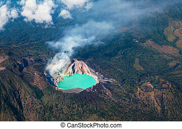 Aerial photo of active volcano Ijen in East Java - largest...