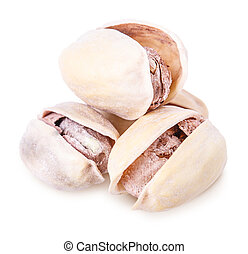 pistachios Isolated on white background Clipping Path
