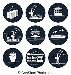 Set of Round Cargo Icons
