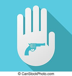 Long shadow hand with a gun - Illustration of a long shadow...