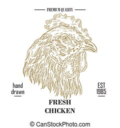 Hand drawn food logo. Engraved rooster head isolated on white background. Vector illustration