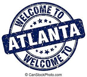 welcome to Atlanta blue round vintage stamp