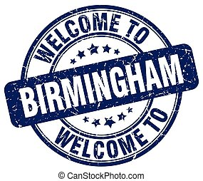 welcome to Birmingham blue round vintage stamp