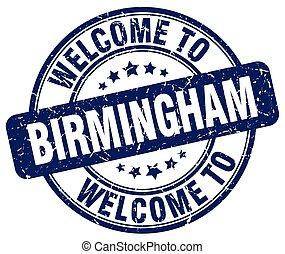 welcome to Birmingham blue round vintage stamp