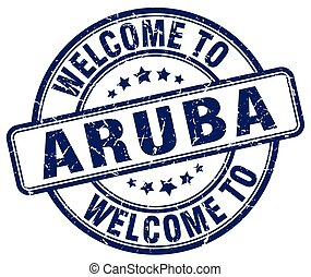 welcome to Aruba blue round vintage stamp