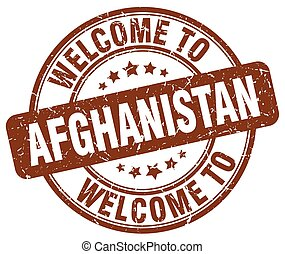 welcome to Afghanistan brown round vintage stamp