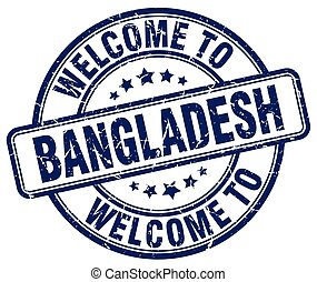 welcome to Bangladesh blue round vintage stamp