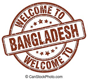 welcome to Bangladesh brown round vintage stamp