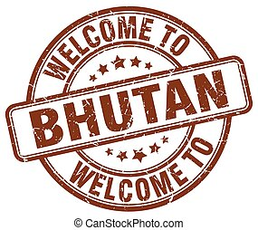 welcome to Bhutan brown round vintage stamp