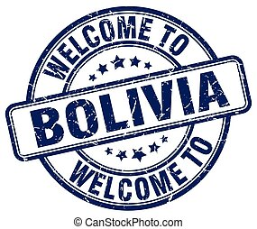 welcome to Bolivia blue round vintage stamp
