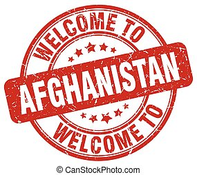 welcome to Afghanistan red round vintage stamp