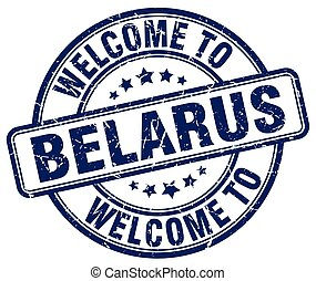 welcome to Belarus blue round vintage stamp